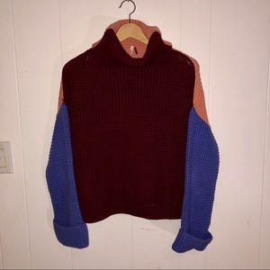 NEW Free People Color block Chunky Sweater